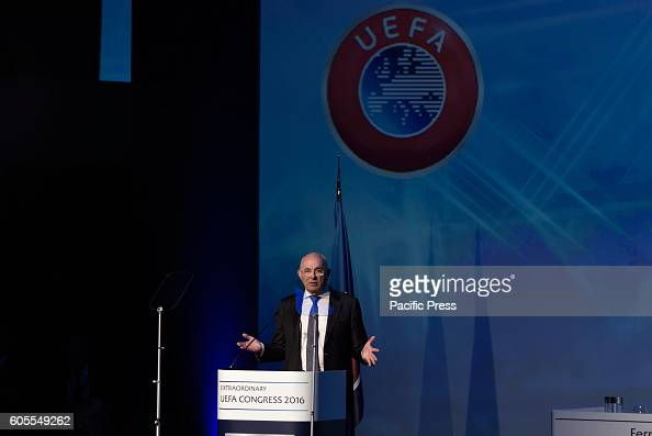 LAGONISI ATHENS ATTIKI GREECE Dutch FA President Michael van Praag during his speech in the 12th Extraordinary Uefa Congress in 14 of September in...