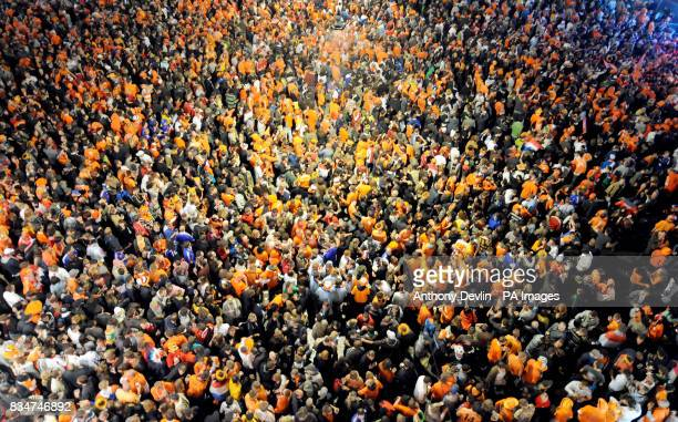 Dutch fans fill the streets of Bern Switzerland one of the host cities in this years Euro 2008 football championship