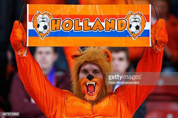 Dutch fans show their support during the UEFA EURO 2016 qualifier match bewteen the Netherlands and Turkey held at Amsterdam Arena on March 28 2015...
