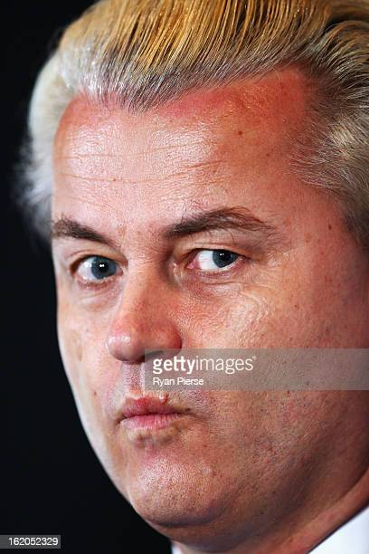 Dutch farright politician and the founder and leader of the Party for Freedom Geert Wilders speaks to the media on February 19 2013 in Melbourne...