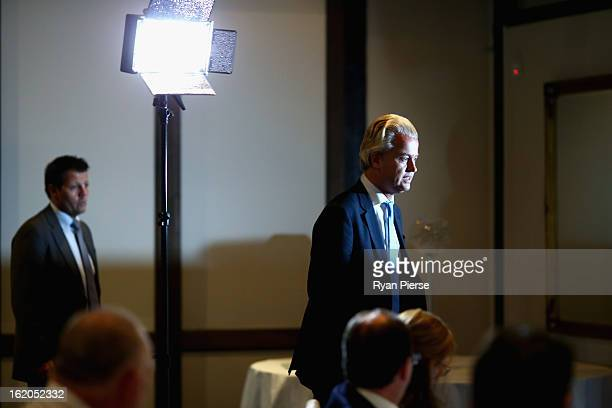 Dutch farright politician and the founder and leader of the Party for Freedom Geert Wilders arrives to speak to the media on February 19 2013 in...