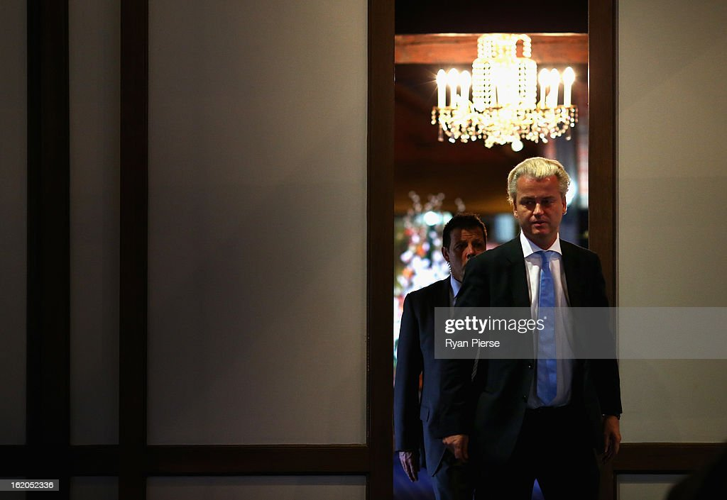 Dutch far-right politician and the founder and leader of the Party for Freedom Geert Wilders arrives to speak to the media on February 19, 2013 in Melbourne, Australia.