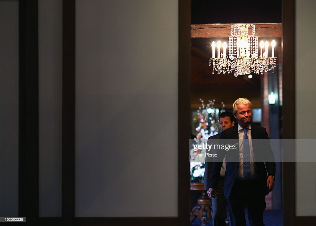 Dutch far-right politician and the founder and leader of the Party for Freedom <a gi-track='captionPersonalityLinkClicked' href=/galleries/search?phrase=Geert+Wilders&family=editorial&specificpeople=5053412 ng-click='$event.stopPropagation()'>Geert Wilders</a> arrives to speak to the media on February 19, 2013 in Melbourne, Australia.