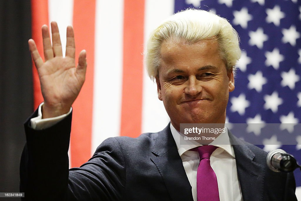 Dutch far-right politician and the founder and leader of the Party for Freedom, Geert Wilders speaks to members of the public on February 22, 2013 in Sydney, Australia.