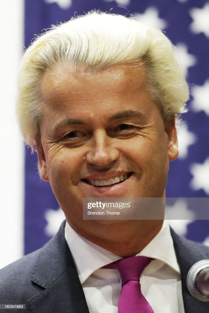 Dutch far-right politician and the founder and leader of the Party for Freedom, <a gi-track='captionPersonalityLinkClicked' href=/galleries/search?phrase=Geert+Wilders&family=editorial&specificpeople=5053412 ng-click='$event.stopPropagation()'>Geert Wilders</a> speaks to members of the public on February 22, 2013 in Sydney, Australia.