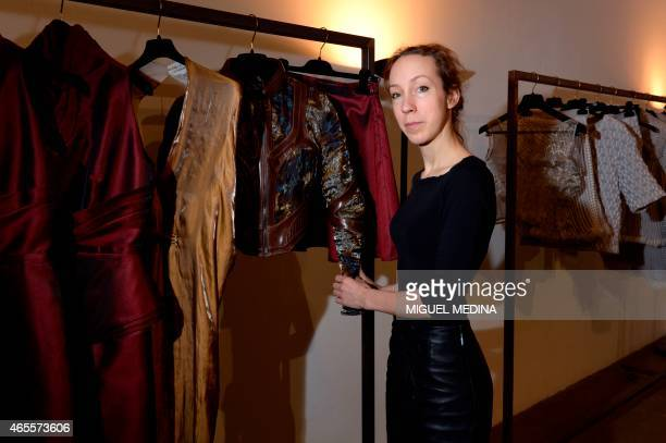 Dutch fashion designer Iris Van Herpen poses during 20152016 fall/winter readytowear collection fashion shows on March 8 2015 in Paris AFP PHOTO /...