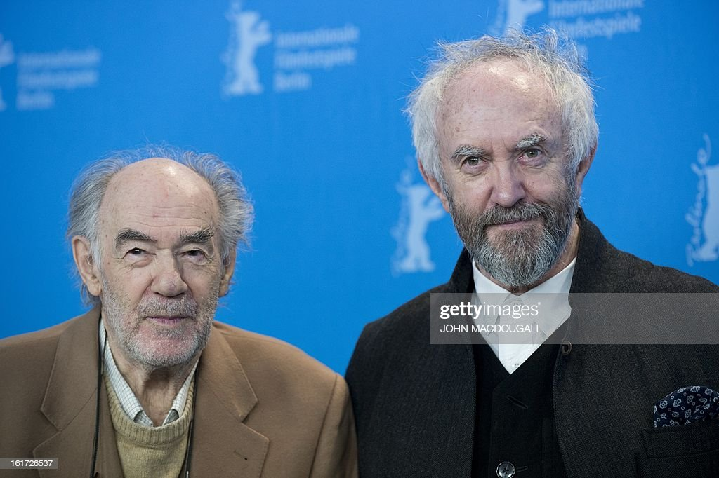 Dutch filmmaker <a gi-track='captionPersonalityLinkClicked' href=/galleries/search?phrase=George+Sluizer&family=editorial&specificpeople=8545874 ng-click='$event.stopPropagation()'>George Sluizer</a> (L) and Welsh actor Jonathan Pryce pose during a photocall for the film Dark Blood competing in the 63rd Berlinale Film Festival in Berlin February 14, 2013.