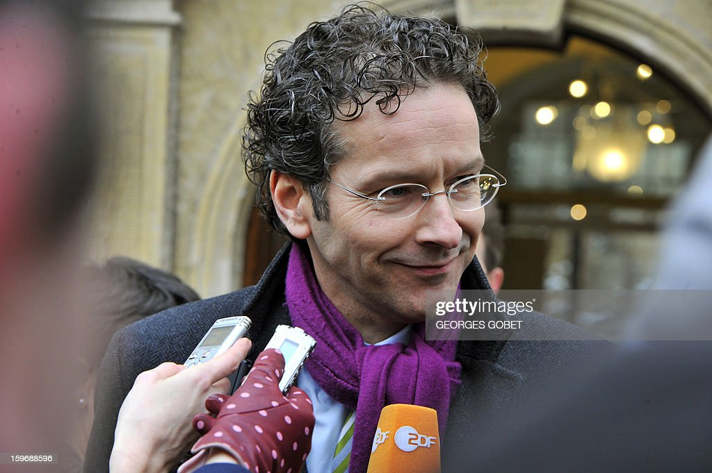 Dutch Finance Minister Jeroen Dijsselbloem addresses journalists before a meeting with Luxembourg Prime Minister and Eurogroup president Jean-Claude Juncker at the Hotel de Bourgogne in Luxembourg on January 18, 2013. Juncker and his probable successor as head of the Eurogroup are due to review the financial and economic situation in the Euro zone and the preparation of the next meeting of the Eurogroup, to be held on January 21 in Brussels.