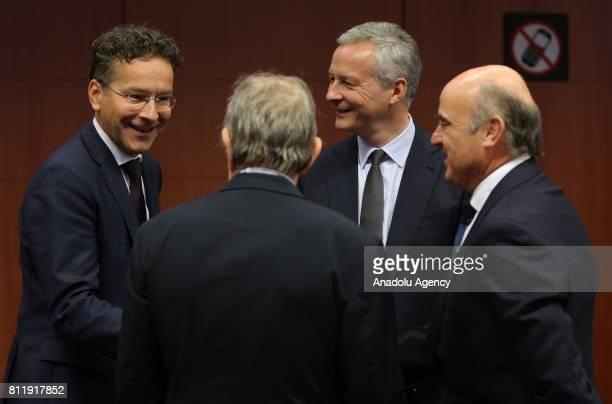 Dutch Finance Minister Jeroen Dijsselbloem France's Finance Minister Bruno Le Maire Italy's Finance Minister Pier Carlo Padoan and Spain's Finance...