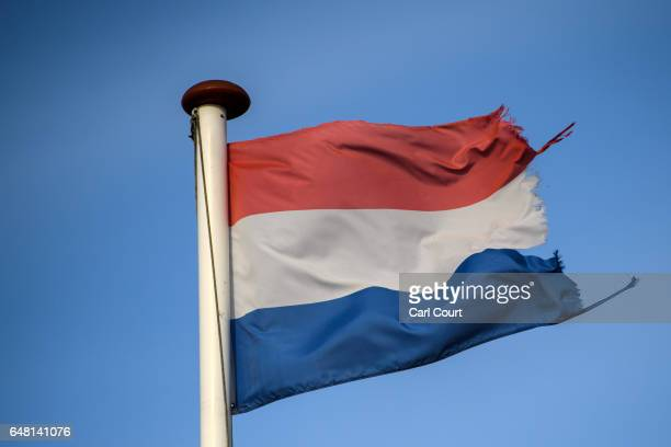 Dutch flag flies on the country's border with Germany on February 21 2017 in Venlo Netherlands The Dutch will vote in parliamentary elections on...