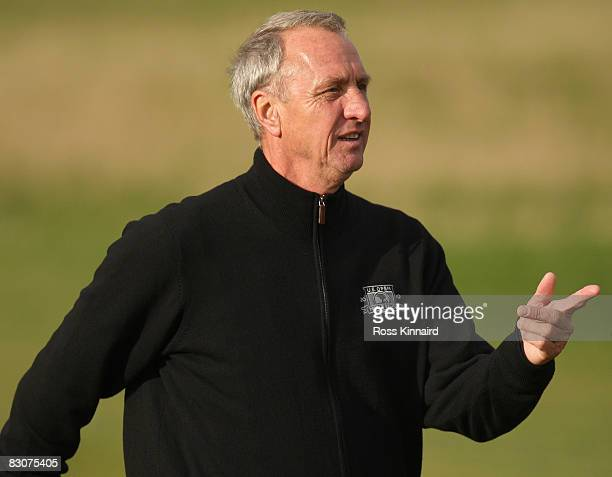 Dutch football legend Johan Cruyff during the final practice round of The Alfred Dunhill Links Championship at The Old Course on October 1 2008 in...