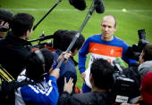 Dutch football player Arjen Robben talks to the press during a training session of the national football team in Seefeld in Austria on May 27 2010...