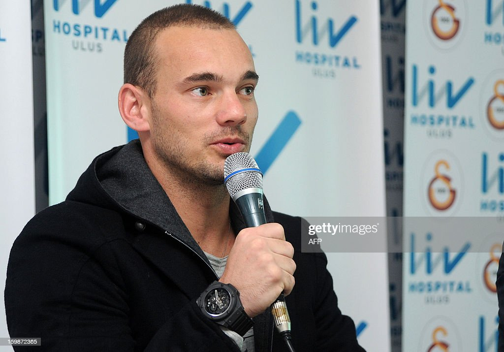 Dutch football player Wesley Sneijder speaks during a press conference in the hospital in Istanbul on January 22, 2013. Dutch midfielder Wesley Sneijder said Monday he was 'very happy' to put his protracted departure from Inter Milan behind him as he left Serie A for Turkish giants Galatasaray on Monday.