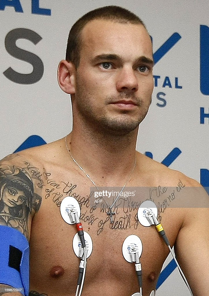 Dutch football player Wesley Sneijder stands during a health control at a hospital in Istanbul on January 22, 2013. Dutch midfielder Wesley Sneijder said Monday he was 'very happy' to put his protracted departure from Inter Milan behind him as he left Serie A for Turkish giants Galatasaray on Monday.