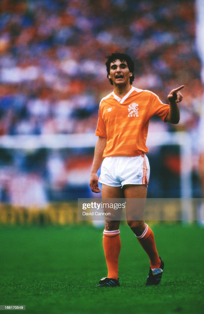 Dutch footballer Gerald Vanenburg during a UEFA Euro 1988 qualifying match against Hungary at De Kuip stadium Rotterdam 29th April 1987 The...