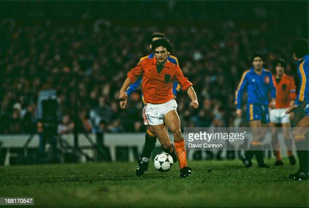 Dutch footballer Gerald Vanenburg playing for the Netherlands national team circa 1985