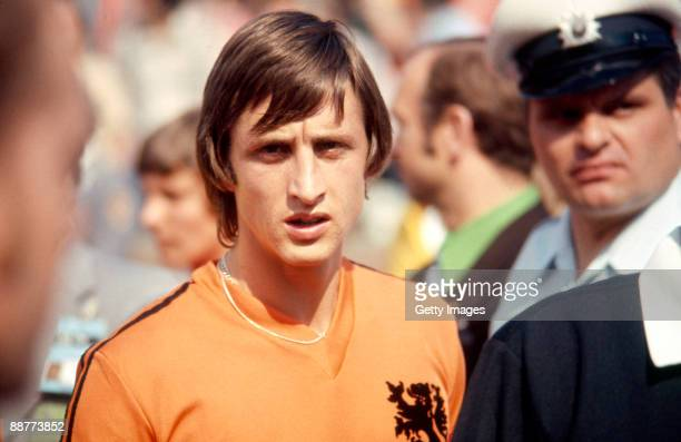 Dutch footballer Johan Cruyff at the World Cup football competition in West Germany JuneJuly 1974