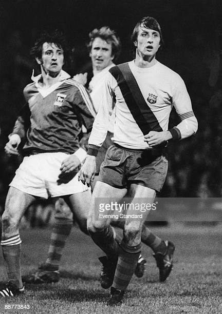 Dutch footballer Johan Cruyff playing for Barcelona against Ipswich Town in a UEFA Cup 3rd Round 1st Leg match at Portman Road Ipswich 23rd November...
