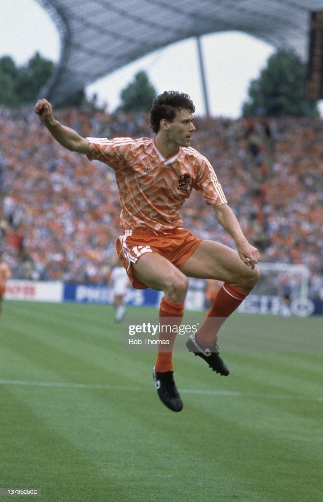 Dutch footballer Marco van Basten during the European Championships Final between Holland and the USSR at the Olympiastadion in Munich, West Germany, 25th June 1988. Holland won 2-0.