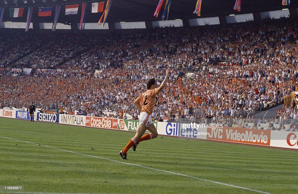 Dutch footballer Marco van Basten having scored the first of his three goals against England during a European Championship match in Dusseldorf 15th...