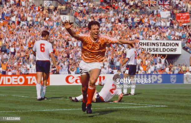 Dutch footballer Marco van Basten having scored the first of his three goals against England during a European Championship match in Dusseldorf 15th...