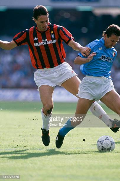Dutch footballer Marco van Basten of AC Milan in action against Napoli in a Serie A match at the Stadio San Paolo Naples 21st October 1990 The match...