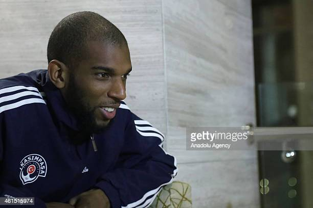 Dutch footballer Ryan Babel of Kasimpasa speaks to media in Antalya Turkey on January 13 2015