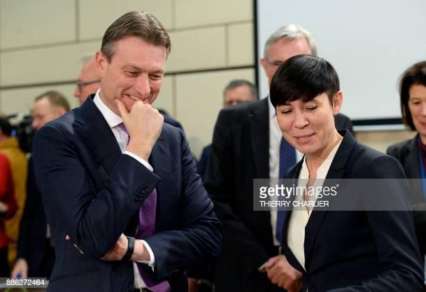 Dutch Foreign Affairs Minister Halbe Zijlstra speaks with Norwegian Foreign Affairs Minister Ine Marie Eriksen Soreide before a NATO Foreign Affairs...