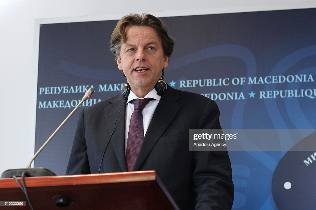 Dutch Foreign Minister Bert Koenders and his Macedonian counterpart Nikola Popovski (not seen) hold a joint press conference following their meeting in Skopje, Macedonia on February 14, 2016.