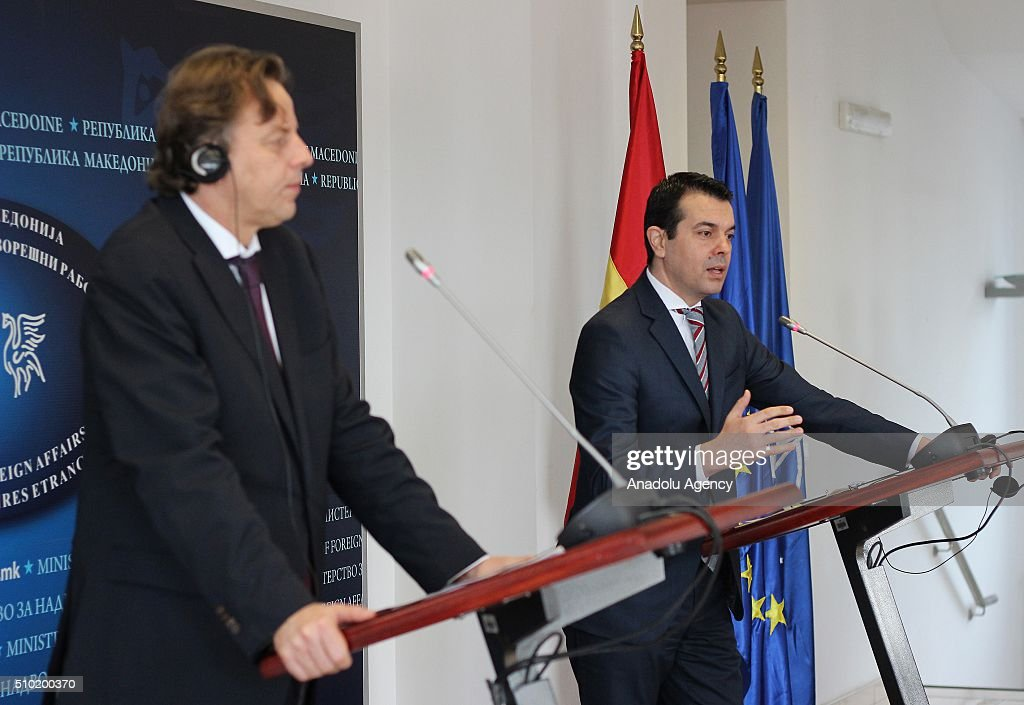 Dutch Foreign Minister Bert Koenders (L) and his Macedonian counterpart Nikola Popovski (R) hold a joint press conference following their meeting in Skopje, Macedonia on February 14, 2016.