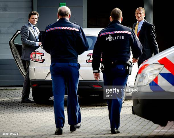Dutch former neurologist Ernst Jansen Steur arrives with his lawyer Frank van Gaal at the courthouse in Almelo on February 11 to hear the verdict in...