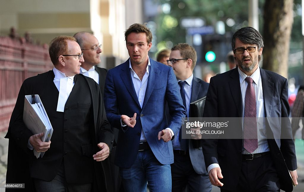 Dutch Formula One driver Giedo van der Garde arrives the court in Melbourne on March 11 which ruled he can drive for Sauber at the seasonopening...