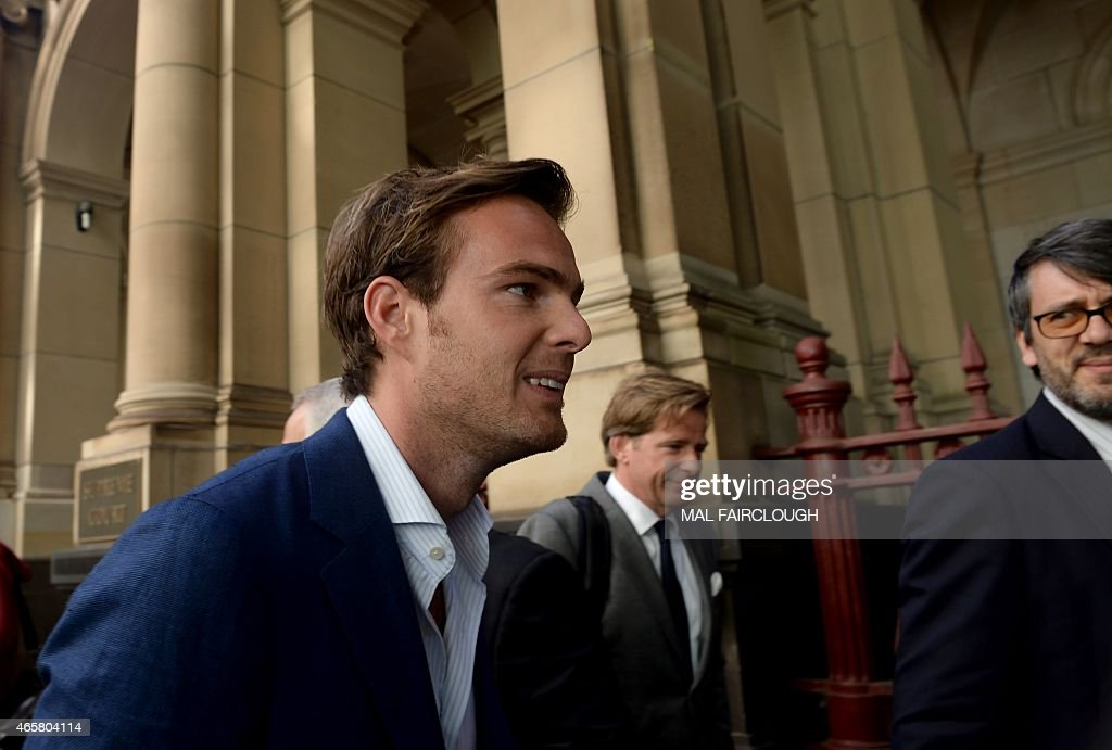 Dutch Formula One driver Giedo van der Garde leaves the court in Melbourne on March 11 which ruled he can drive for Sauber at the seasonopening...