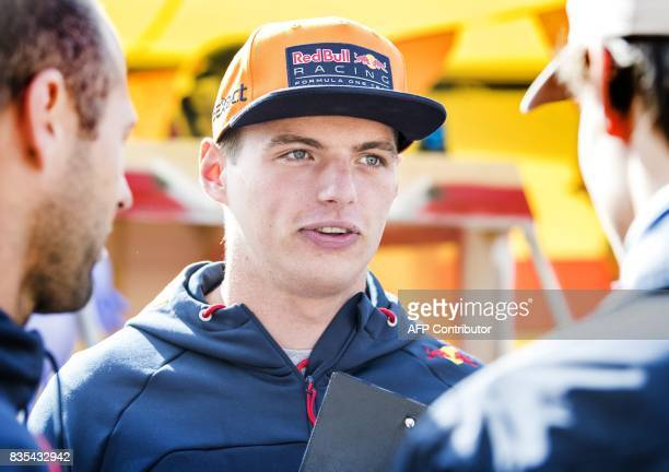 Dutch Formula One driver Max Verstappen of Red Bull Racing speaks during the Red Bull Soapbox Race in Valkenburg The Netherlands on August 19 2017 /...