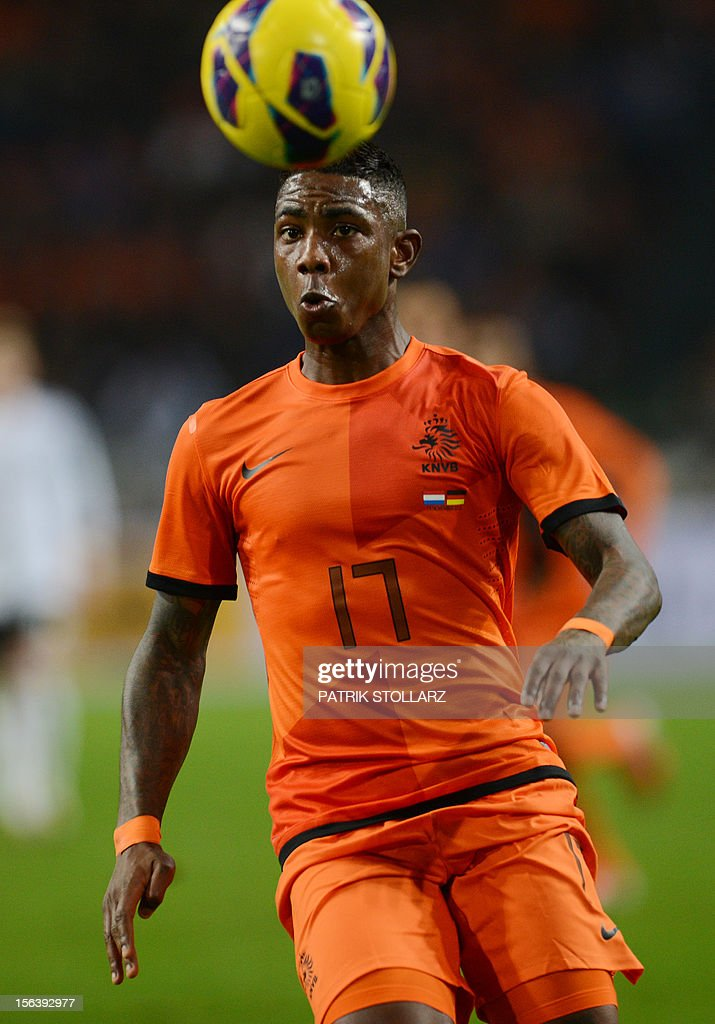 Dutch forward Eljero Elia looks at the ball during the friendly football match Netherlands vs Germany on November 14, 2012 in Amsterdam.
