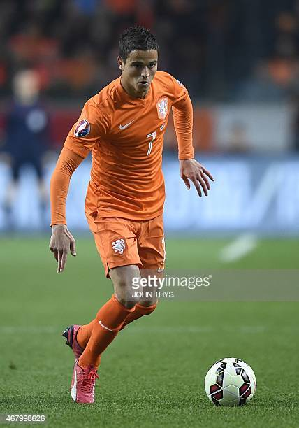 Dutch forward Ibrahim Afellay plays on March 28 2015 during a Euro 2016 qualifying round football match Netherlands vs Turkey at the Arena Stadium in...