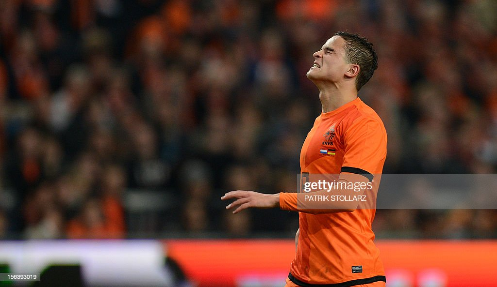 Dutch forward Ibrahim Afellay reacts after missing a chance to score during the friendly football match Netherlands vs Germany on November 14, 2012 in Amsterdam.