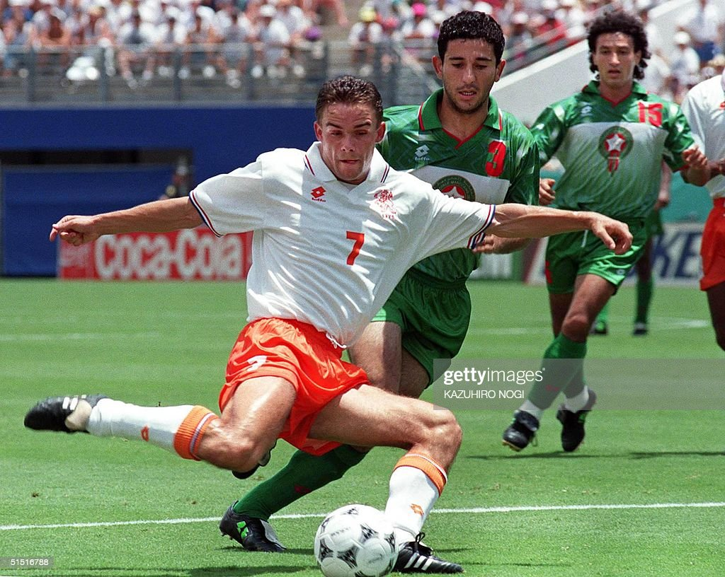 Dutch forward Marc Overmars G and Morocco s Defe