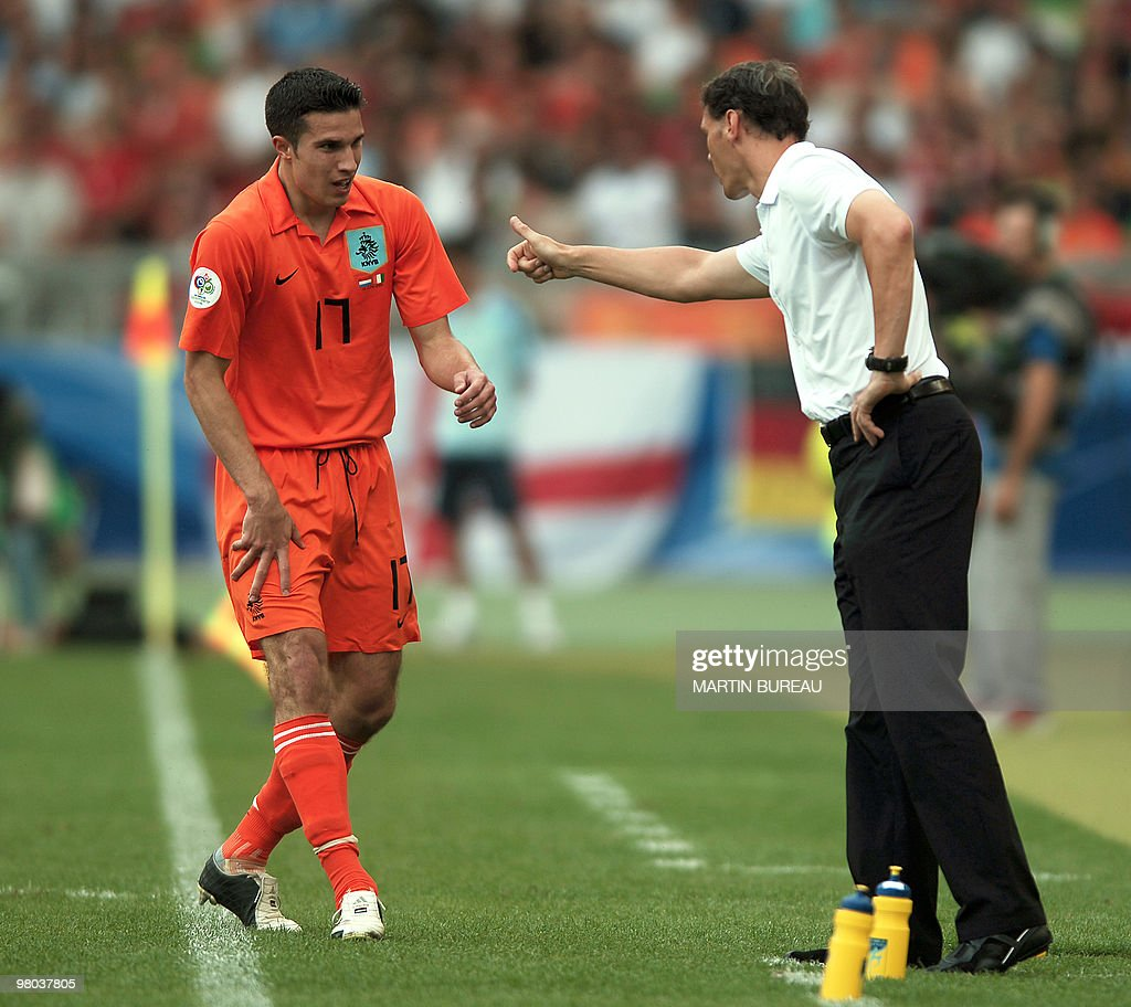 Dutch forward Robin van Persie L is co