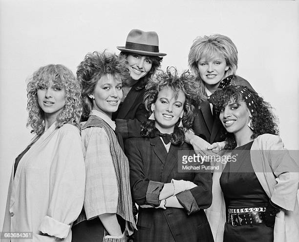 Dutch girl band Dolly Dots 1982 Left to right Anita Heilker Ria Brieffies Patty Zomer Angela Groothuizen Angéla Kramers and Esther Oosterbeek