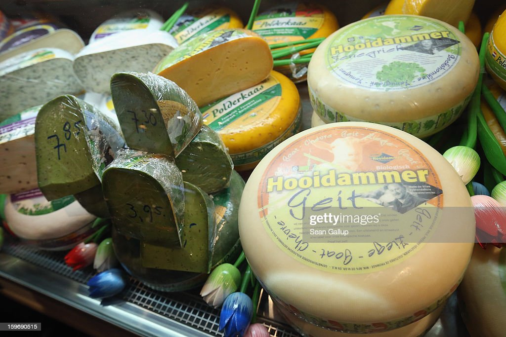 Dutch gouda and other cheeses lie on display at the 2013 Gruene Woche agricultural trade fair on January 18, 2013 in Berlin, Germany. The Gruene Woche, which is the world's largest agricultural trade fair, runs from January 18-27, and this year's partner country is Holland.