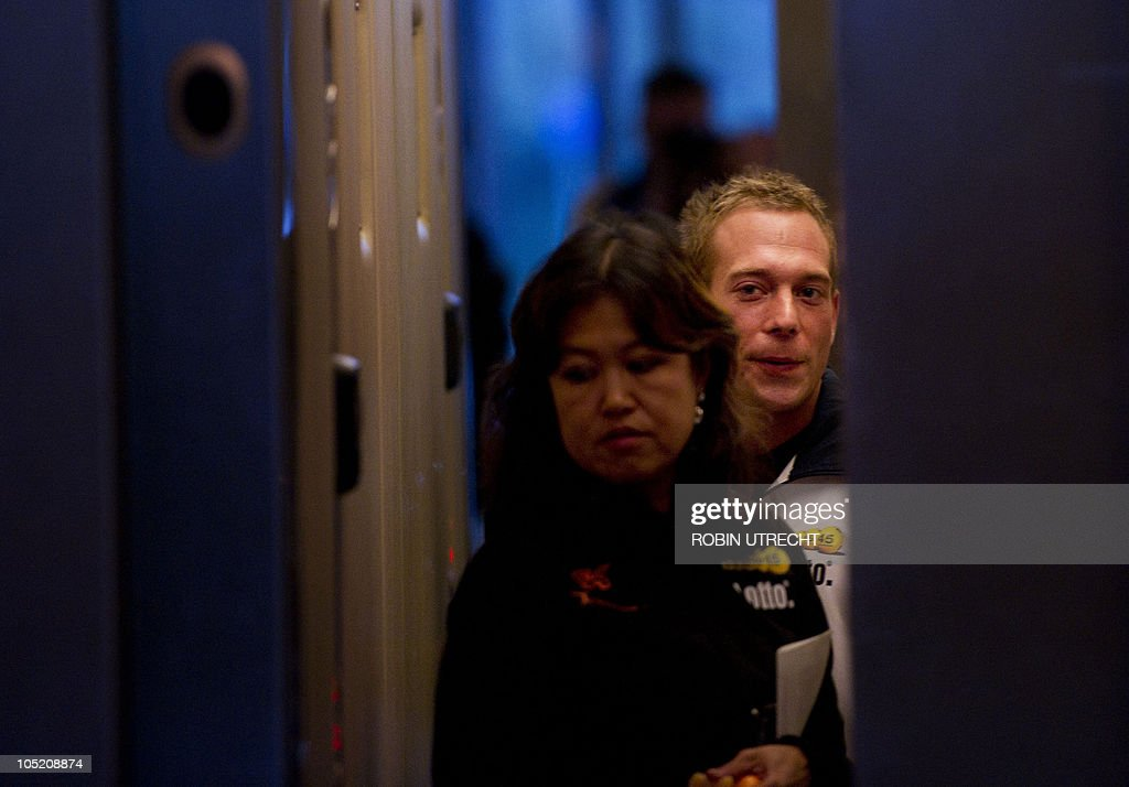 Dutch gymnast Yuri van Gelder and his sports physician Liesbeth Lim stand in an elevator of a hotel in Ridderkerk where the Dutch gymnastic team is...