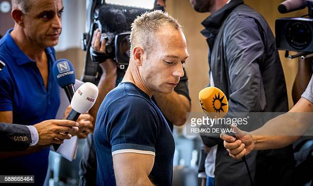 Dutch gymnast Yuri Van Gelder leaves the courthouse in Arnhem on August 12 2016 after a emergency court hearing on his expulsion from the Dutch...
