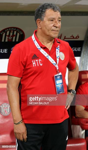 Dutch Henk ten Cate head coach of UAE's alJazira looks on during their AFC Champions League Group B match at the Mohammed Bin Zayed Stadium in Abu...