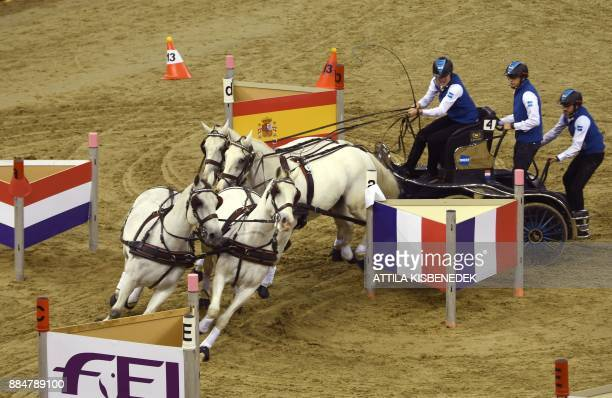 Dutch horsedriver Bram Chardon drives the fourhourse carriage during the FEI World Cup Driving series event in Budapest at Papp Laszlo Arena on...