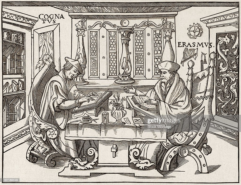 Dutch humanist and scholar Desiderius Erasmus sits with his colleague Gilbertus Cognatus who writes with a quill pen