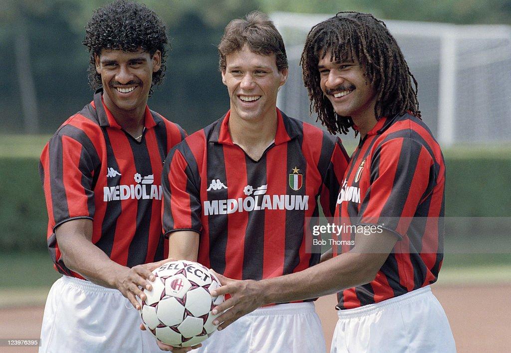 Dutch Internationals Frank Rijkaard Marco Van Basten and Ruud Gullit after joining AC Milan July 1988