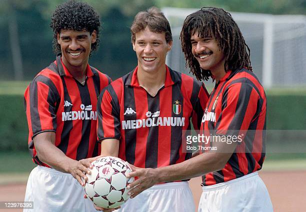Dutch Internationals Frank Rijkaard Marco Van Basten and Ruud Gullit after joining AC Milan July 1988