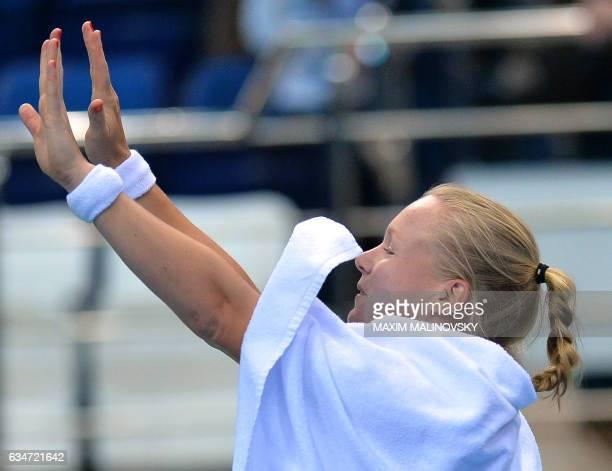 Dutch Kiki Bertens reacts after the Fed Cup World Group first round tennis match against Belarus Aryna Sabalenka between Belarus and Netherlands in...