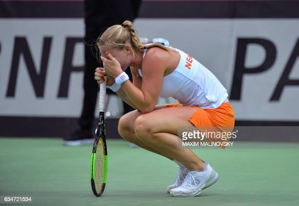 Dutch Kiki Bertens reacts during the Fed Cup World Group first round tennis match between Belarus and Netherlands in Minsk on February 11 2017 / AFP...